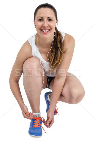 портрет спортсмена женщину кроссовки белый здоровья Сток-фото © wavebreak_media