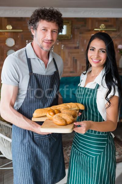 Camarero camarera bandeja pan Foto stock © wavebreak_media