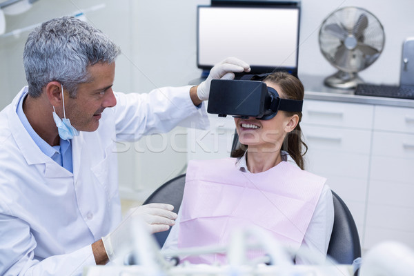 Female patient virtual reality headset during a dental visit Stock photo © wavebreak_media