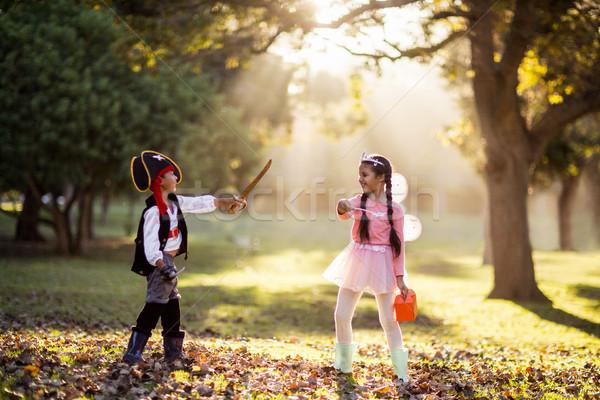 Verspielt Geschwister tragen Kostüme Park Stock foto © wavebreak_media