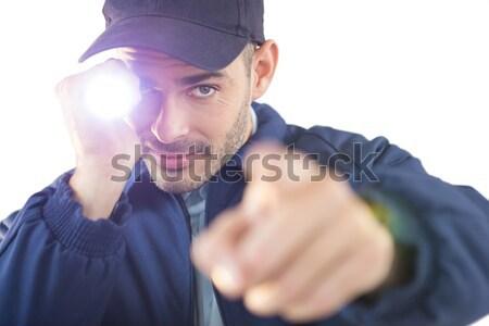 Hombre virtual realidad auricular blanco comunicación Foto stock © wavebreak_media