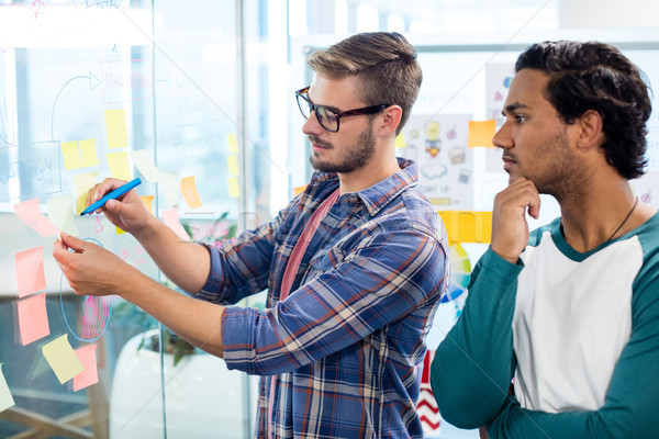 Stock photo: Creative business team writing on the sticky notes