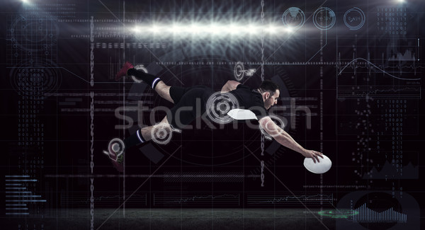 Imagem rugby jogador computador homem Foto stock © wavebreak_media