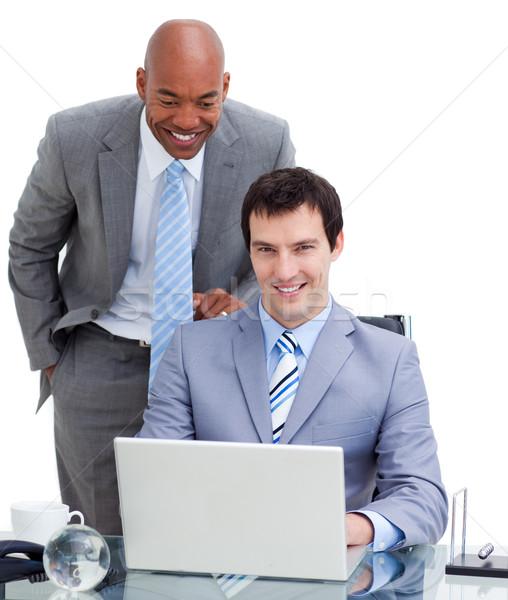 Kisebbségi menedzser kolléga számítógép fehér billentyűzet Stock fotó © wavebreak_media