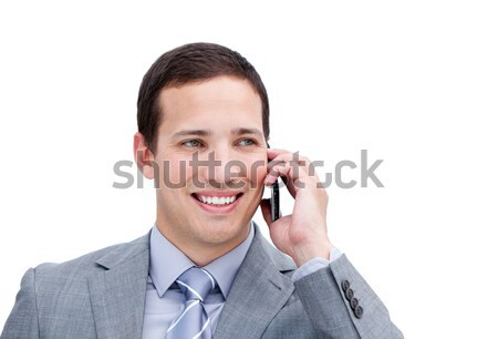Ritratto fortunato imprenditore telefono bianco ufficio Foto d'archivio © wavebreak_media