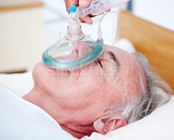 Stockfoto: Senior · patiënt · zuurstofmasker · medische · hart