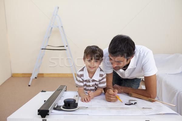 Vater-Sohn Studium Architektur home glücklich Familie Stock foto © wavebreak_media