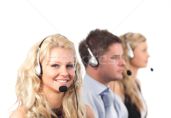 Three people in a call centre Stock photo © wavebreak_media