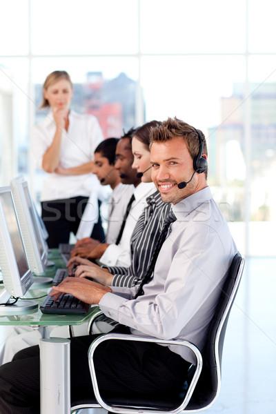Привлекательная женщина лидера команда Call Center бизнеса заседание Сток-фото © wavebreak_media