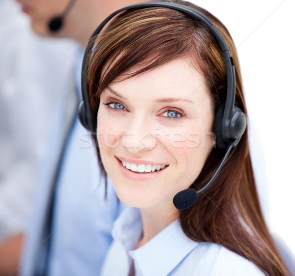 Portrait femme d'affaires casque blanche affaires ordinateur Photo stock © wavebreak_media