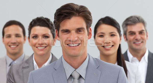 Uśmiechnięty ludzi biznesu różnorodności stałego kamery Zdjęcia stock © wavebreak_media