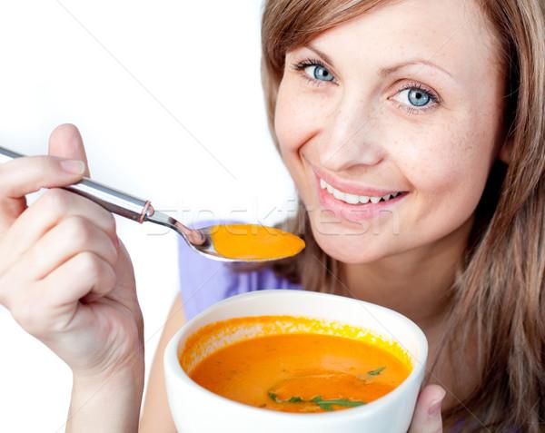 éhes nő tart leves tál fehér Stock fotó © wavebreak_media