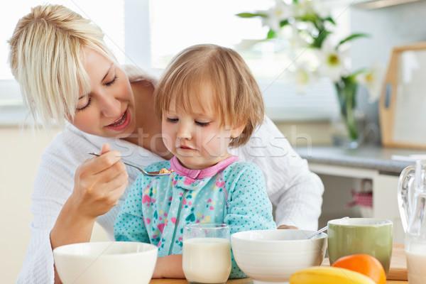 Mother having breakfast with her daughter in kitchen Stock photo © wavebreak_media