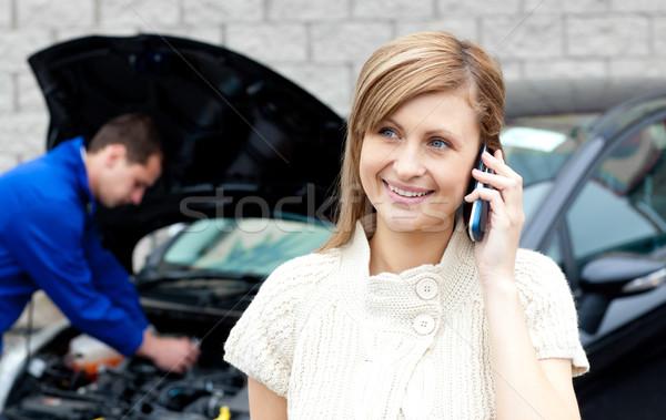 Homme noir voiture occupés femme Photo stock © wavebreak_media
