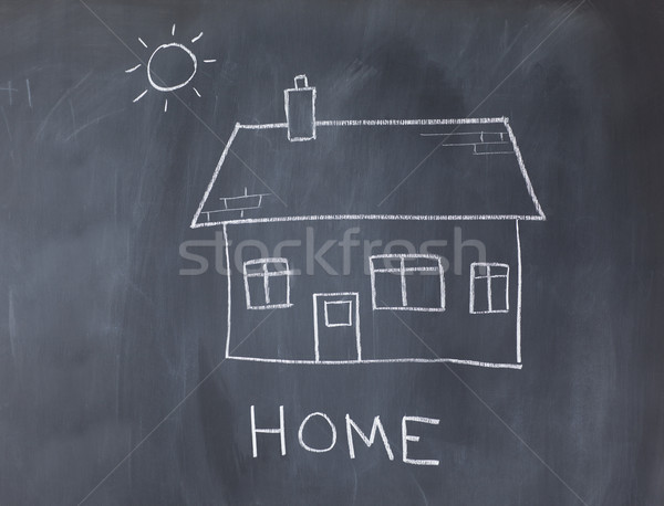 Nagy ház nap iskolatábla művészet fehér Stock fotó © wavebreak_media