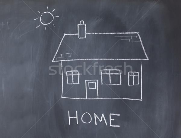 Groot huis zon Blackboard kunst witte Stockfoto © wavebreak_media
