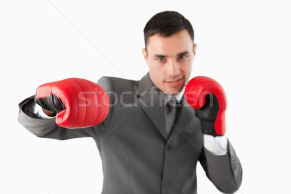 Biznesmen rękawice bokserskie hak biały działalności Zdjęcia stock © wavebreak_media