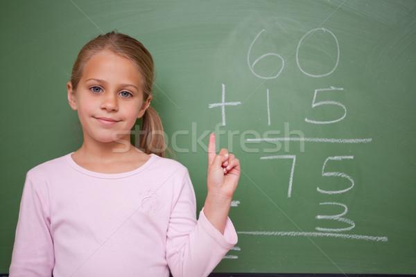 Stockfoto: Cute · schoolmeisje · hand · Blackboard · meisje · school
