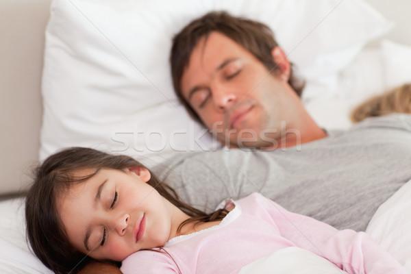 Higgadt apa alszik lánygyermek hálószoba szemek Stock fotó © wavebreak_media