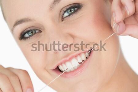 Belo adolescente gloss lábio escove Foto stock © wavebreak_media