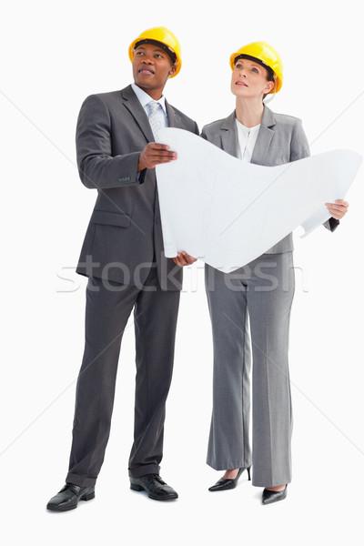 бизнесмен женщину бумаги Сток-фото © wavebreak_media