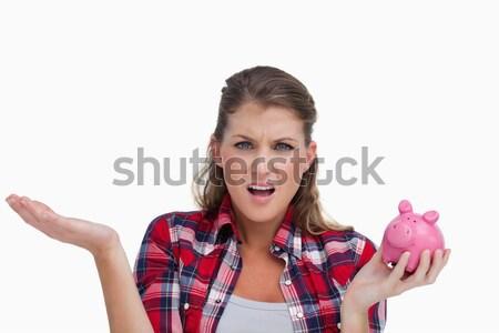 Photo stock: Portrait · jeune · femme · tirelire · blanche · femme · argent