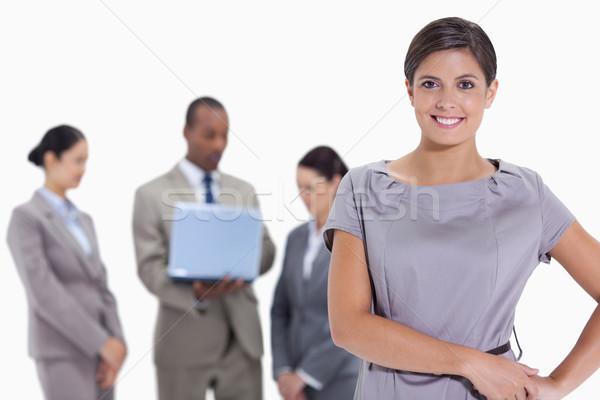 Mulher mãos quadris equipe de negócios branco laptop Foto stock © wavebreak_media