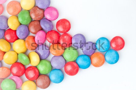 Stock photo: Candies multi coloured against white background