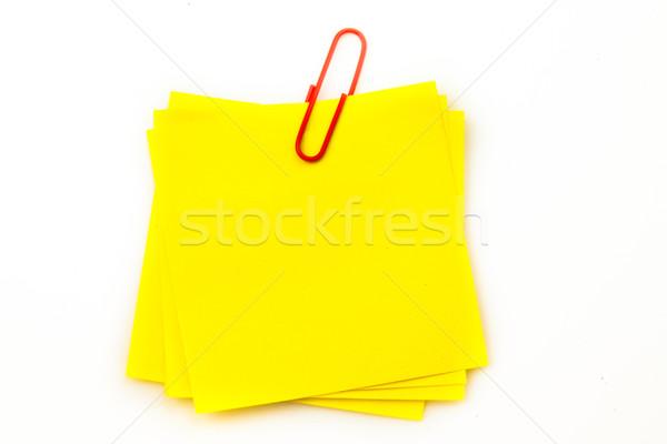 Karteczkę czerwony spinacz biały pióro notebooka Zdjęcia stock © wavebreak_media
