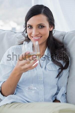 Woman drinking a glass of wine while holding a television remote Stock photo © wavebreak_media