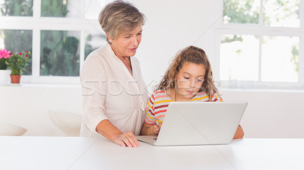 Grandmother and child looking at laptop together Stock photo © wavebreak_media