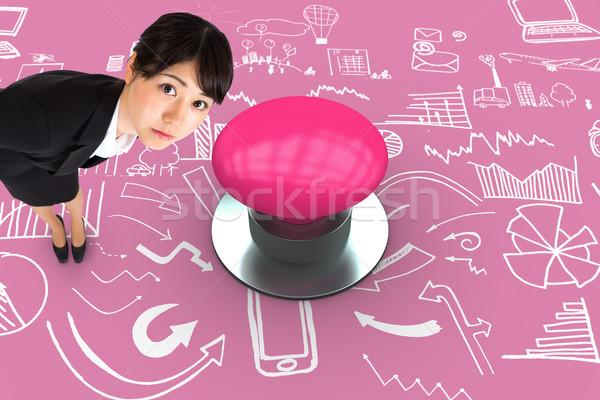 összetett kép komoly üzletasszony görbület rózsaszín Stock fotó © wavebreak_media