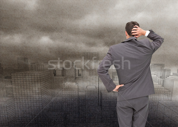 Composite image of young businessman standing back to camera scr Stock photo © wavebreak_media