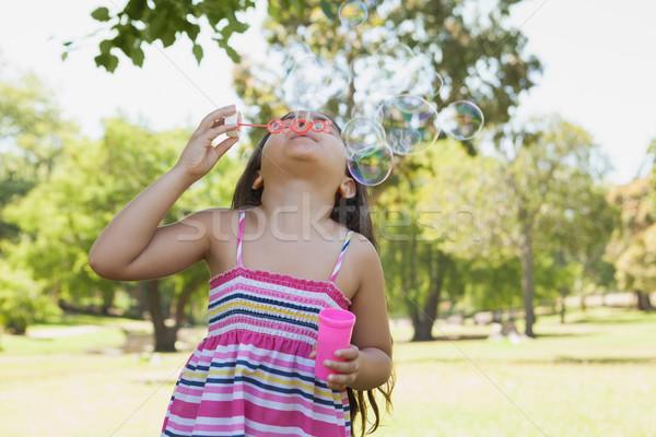 Girl blowing soap bubbles at park Stock photo © wavebreak_media