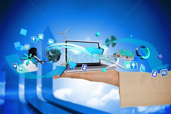 Hand Laptop App Symbole digital composite Stock foto © wavebreak_media