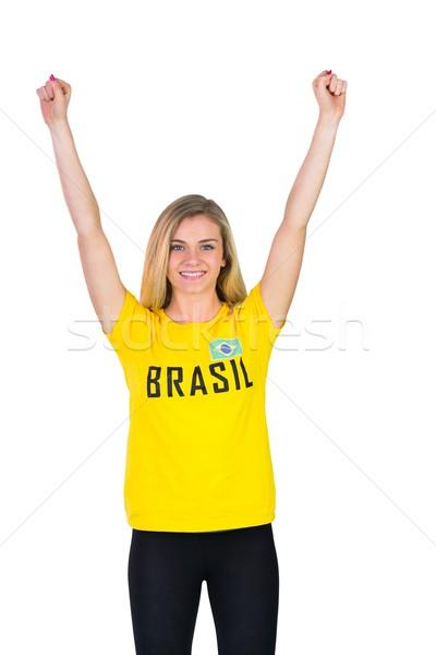 Heyecanlı futbol fan tshirt beyaz Stok fotoğraf © wavebreak_media