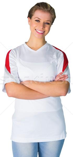 Bastante fútbol ventilador blanco sonriendo fútbol Foto stock © wavebreak_media