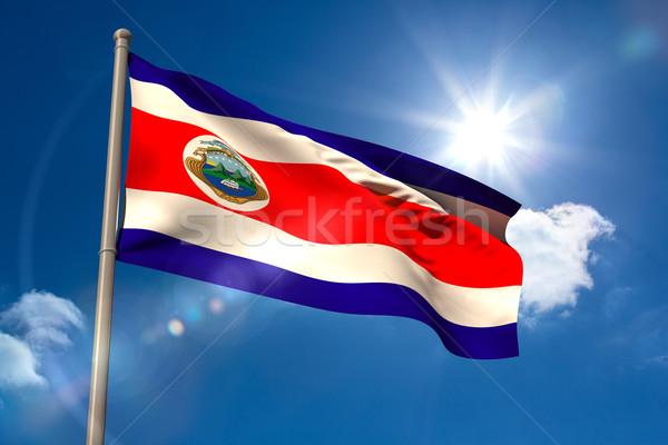 Costa Rica vlag vlaggestok blauwe hemel zon licht Stockfoto © wavebreak_media