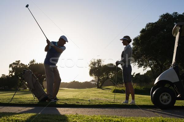 Gra w golfa para dzień słoneczny rano Zdjęcia stock © wavebreak_media