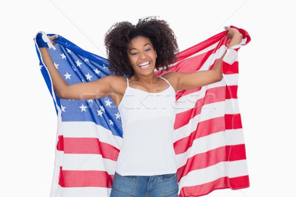 Dość dziewczyna amerykańską flagę kamery Zdjęcia stock © wavebreak_media