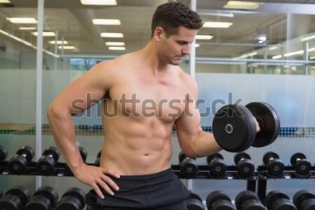 シャツを着ていない 筋肉の 男 バーベル ジム ストックフォト © wavebreak_media