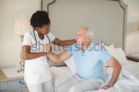 Dentista dentales ayudante clínica ordenador Foto stock © wavebreak_media