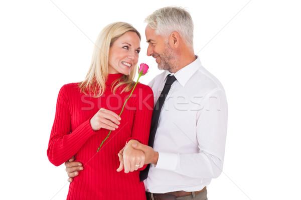 красивый мужчина жена Розовые розы белый женщину закрывается Сток-фото © wavebreak_media