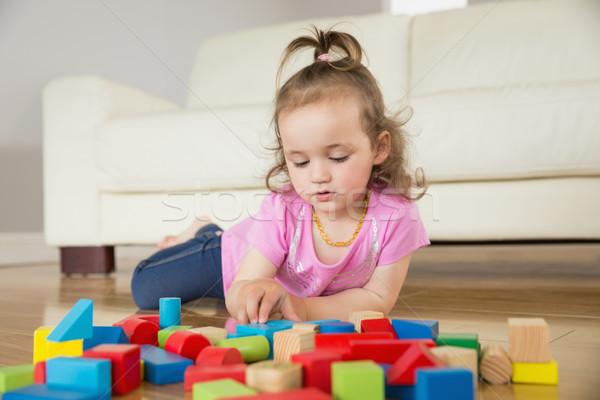 Ragazza giocare blocchi piano cute bambina Foto d'archivio © wavebreak_media