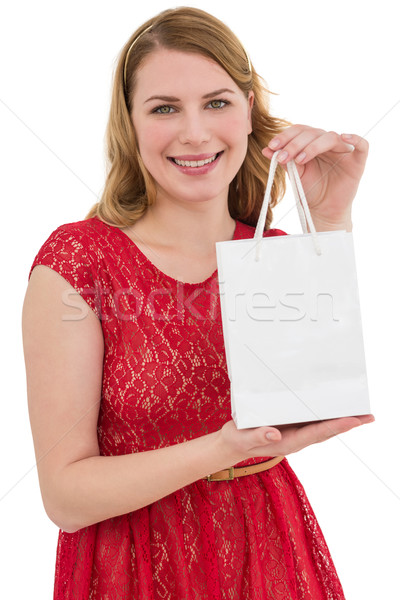 Güzel kırmızı elbise alışveriş çantası beyaz Stok fotoğraf © wavebreak_media