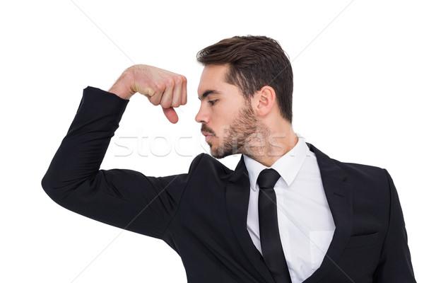 ビジネスマン 腕 筋 白 幸せ ストックフォト © wavebreak_media