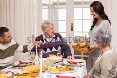 Sorridente várias gerações natal jantar casa sala de estar Foto stock © wavebreak_media