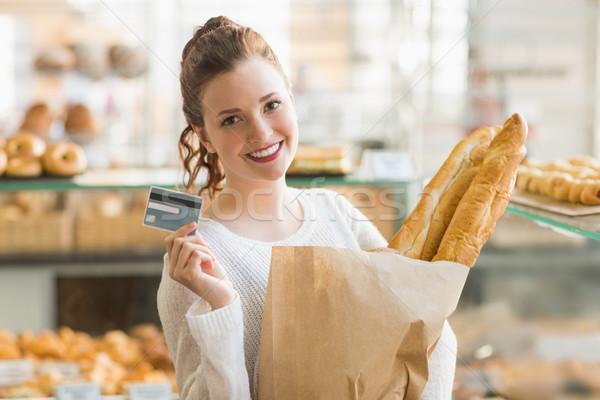 かなり ブルネット 袋 パン クレジットカード ベーカリー ストックフォト © wavebreak_media
