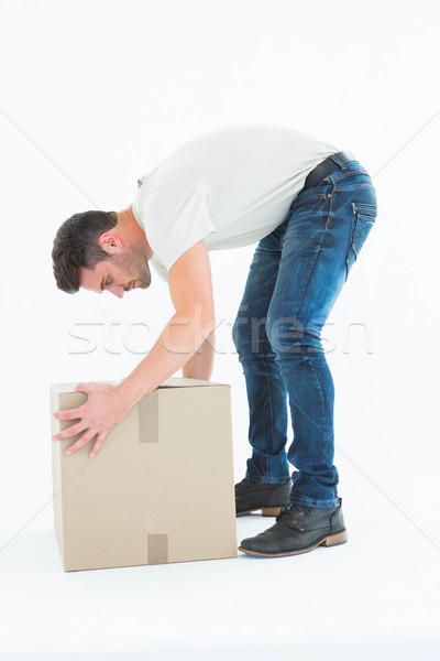 Mensajero caja de cartón vista lateral blanco Foto stock © wavebreak_media