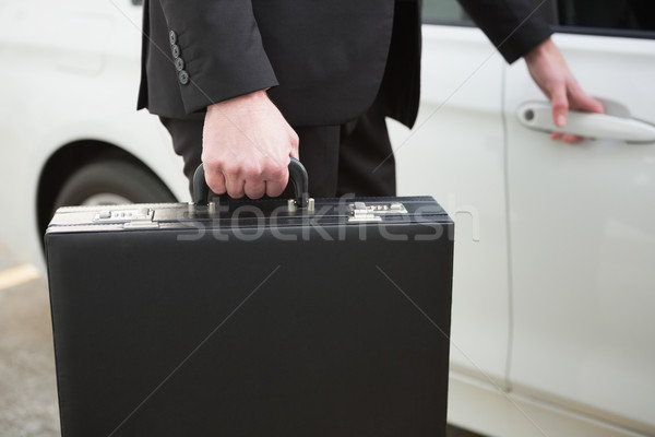 Biznesmen samochodu drzwi car park Zdjęcia stock © wavebreak_media